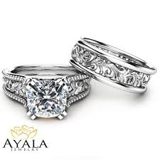 white gold wedding ring sets cushion moissanite wedding ring set unique 14k white gold