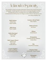 Simple Wedding Program Examples Program Thank U