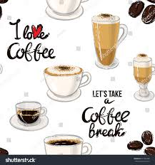 espresso macchiato beautiful seamless pattern coffee break lettering stock vector