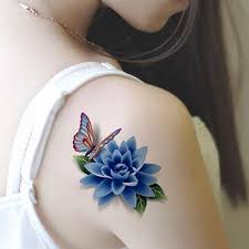 colorful 3d butterfly flower rose tattoo sticker waterproof