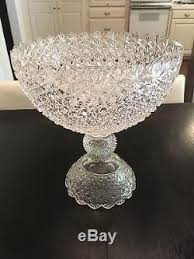 Pedestal Punch Bowl Antique Large Brilliant Cut Glass Punch Bowl On Pedestal