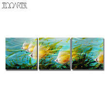 Original Home Decor Tooarts Home Decor Colorful Fishes Modern Painting Hand Painted