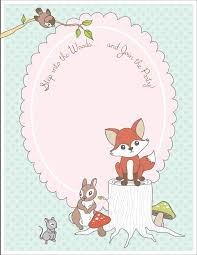 free printable woodland animal place cards invitation