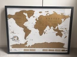 World Scratch Map by Framed Unscratched Scratch Map Frame Is From Habitat In