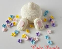 Easter Cake Decorations Easter Bunny Digging Cake Topper With Flowers Carrots