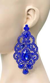 4 75 oversized statement earrings royal blue rhinestone drag