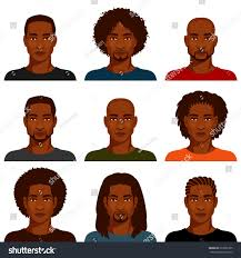african american men various hairstyles stock vector 223655365