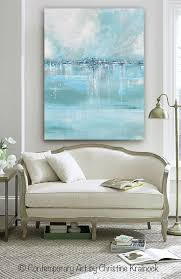 blue and white home decor giclee print large art abstract painting blue white grey wall