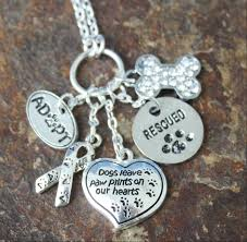 necklace with charms images Paw prints on the heart charm necklace blue laamb designs jpg