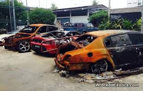 roll royce thailand exotic cars destroyed by fire in thailand