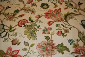 Cotton Linen Upholstery Fabric Crewel Style Printed Artwork Beautiful Floral Brissac Cotton Linen