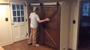 Sliding Door Wood Double Hardware by Single Track Bypass Barn Door System Youtube