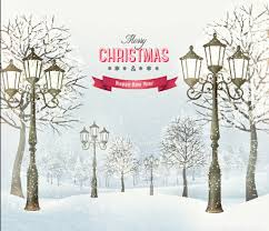 2015 christmas street lamp and snow background 02 vector