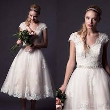 discount lace plus size tea length wedding dresses with cap