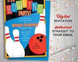 retro vintage bowling printable birthday party invitation