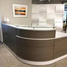 Reception Desk Glass Decor Receptionist Desk Attractive Design Of Desk In Hazel Wood
