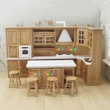 doll house kitchen furniture wooden toys cabinet range sink - Dolls House Kitchen Furniture