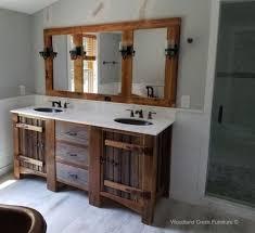 reclaimed wood vanity rustic bath cabinetry log cabin vanities