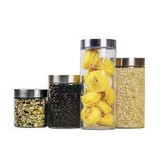 clear plastic kitchen canisters home basics 4 glass canister set cs10239 the home depot