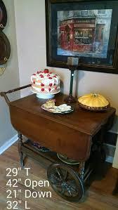 vintage kling rolling drop leaf wood serving tea cart coffee wine