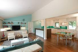 kitchen living room color schemes funky living room color schemes with kitchen combo using white