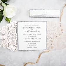silver wedding invitations silver glittered blush laser cut wedding invites swws004 stylishwedd