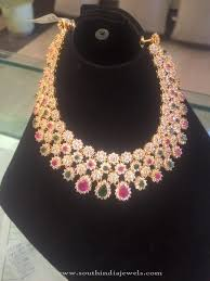 stone choker necklace images Gold cz stone choker necklace from psj south india jewels jpg