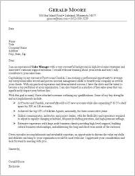 cover letter sales manager free sample cover letter resume