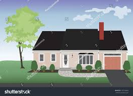 pink house one car garage landscaped stock vector 193716842