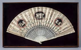 silk fan antique carved ivory painted silk fan