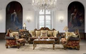 Wooden Carving Sofa Designs Classy Crystal Chandelier Over Chenille Fabric Sofa And Wooden