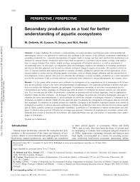 secondary production as a tool for better understating of aquatic