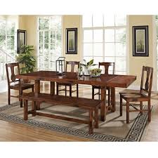 rustic dark oak 6 piece wood dining set with dining bench free
