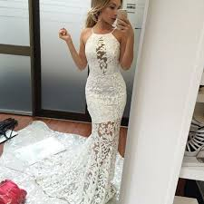 mermaid halter backless sweep white lace prom dress