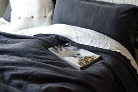 peppercorn heavy weight rustic linen duvet cover dark gray