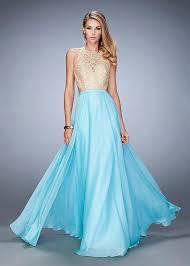 long aqua chiffon embellished beaded gold lace prom dress 2016 la