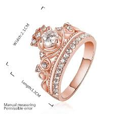Crown Wedding Rings by Amazon Com Women U0027s Jewerly Wedding 18k Rose Gold Plated Crystals