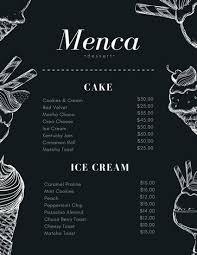 sle menu design templates dessert menu templates canva