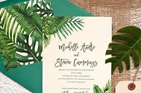 tropical wedding invitations tropical leaf destination wedding invitations