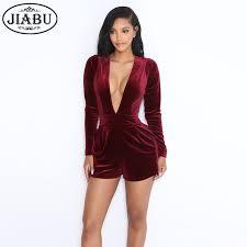 wine jumpsuit 2017 arrival v neck wine velvet jumpsuit