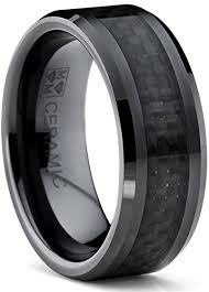 carbon fiber wedding rings 8mm flat top s black ceramic ring wedding band with black