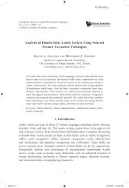 analysis of handwritten arabic letters using selected feature