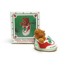 child u0027s third christmas vintage 1985 hallmark teddy bear in shoe