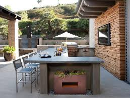 outdoor kitchen faucet white brick outdoor kitchen with concrete counter transitional