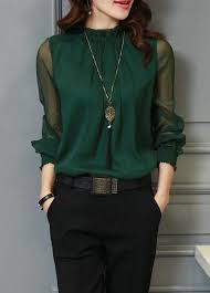 green blouses sleeve green high neck blouse rosewe com usd 28 66