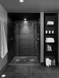 contemporary bathroom basement double shower heads with pebble