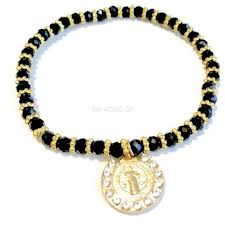 black bracelet charms images Raf rossi gold plated beautiful stretchy black czech beads saint jpg