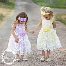 girls dress lace flower dress yellow girls lace dress