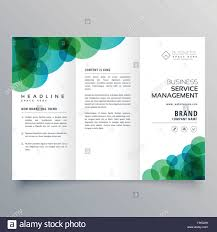 modern abstract green and blue circles business trifold brochure