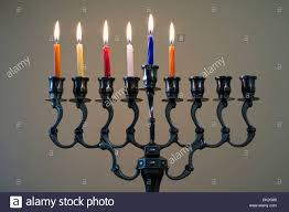 chanuka candles hanukkah menorah with six burning candles on the fifth day of